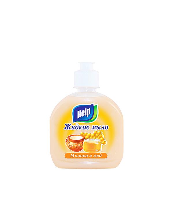 Мыло жидкое с дозатором, 300 мл Help Молоко и мед