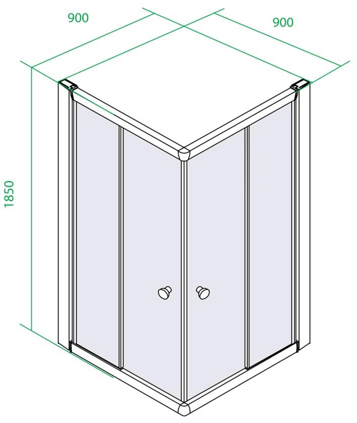 Дверки душевые квадратные для низкого поддона 900х900х1850 мм