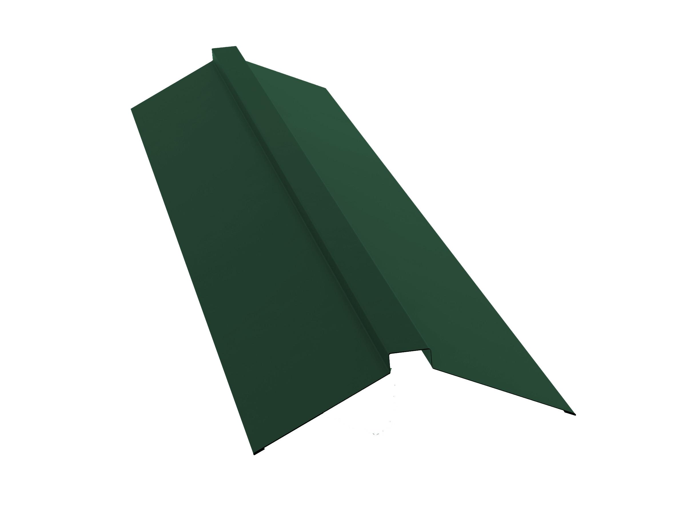 Конек для металлочерепицы плоский с пазом, 2м зеленый RAL 6005
