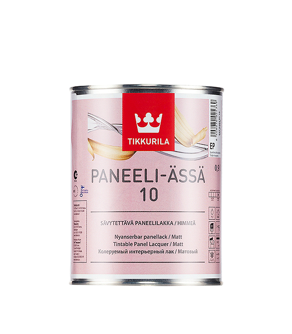 Лак водоразбавляемый Tikkurila Paneeli-Assa основа EP матовый 0.9 л защитный состав для древесины tikkurila paneeli assa панели ясся база ер 9л