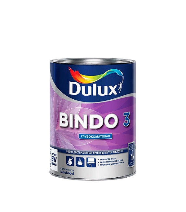 Краска в/д Bindo 3 основа BW глубокоматовая Dulux 1 л