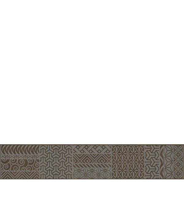 Керамогранит бордюр 70х400х9 мм Linen темно-коричневый/Грасаро