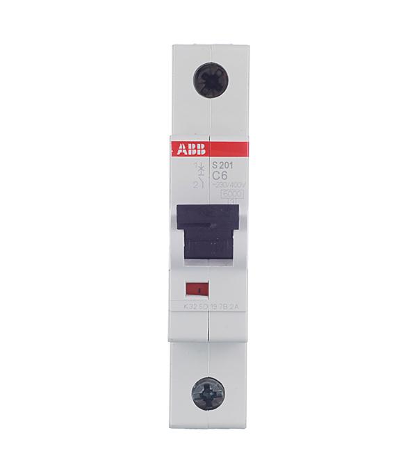 Автомат 1P 6А тип С 6 kA ABB S201  автомат 3p 6а тип с 6ка abb s203