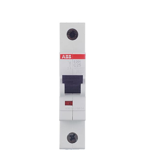 Автомат 1P 25А тип С 6 kA ABB S201 дифференциальный автомат 1p n 25а тип c 30 ма 4 5 ka abb dsh941r