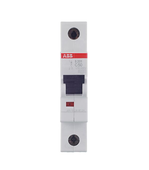 Автомат 1P 50А тип С 6 kA ABB S201 автомат 2p 50а тип с 6ка abb s202