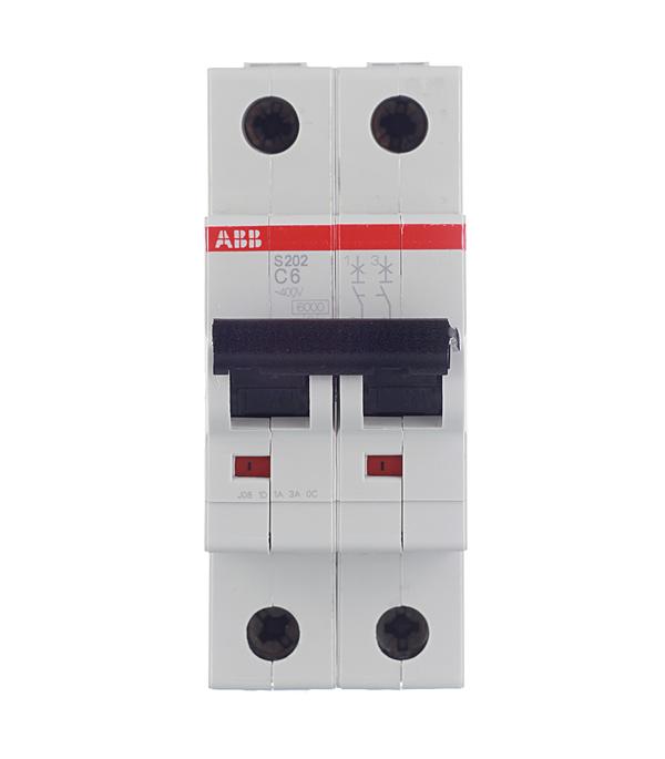 Автомат 2P 6А тип С 6 kA ABB S202  автомат 3p 6а тип с 6ка abb s203