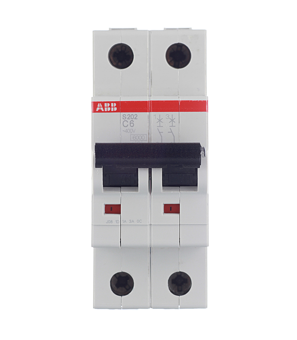 Автомат 2P,  6А, тип С, 6кА, ABB, S202