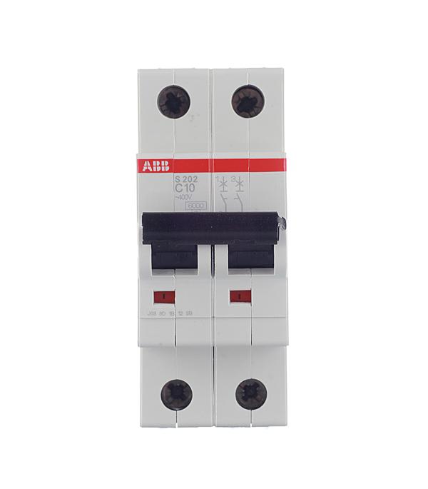 Автомат 2P 10А тип С 6 kA ABB S202 автомат 2p 50а тип с 6ка abb s202