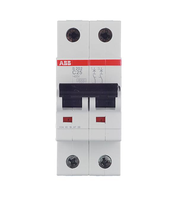 Автомат 2P 25А тип С 6 kA ABB S202 автомат 2p 50а тип с 6ка abb s202