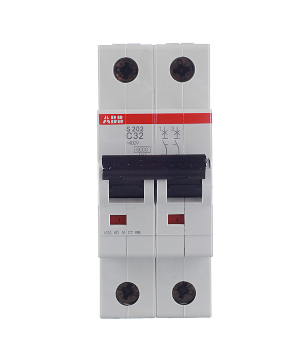 Автомат 2P, 32А, тип С, 6кА, ABB, S202