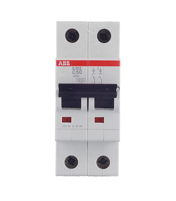 Автомат 2P 50А тип С 6 kA ABB S202 автомат 2p 50а тип с 6ка abb s202