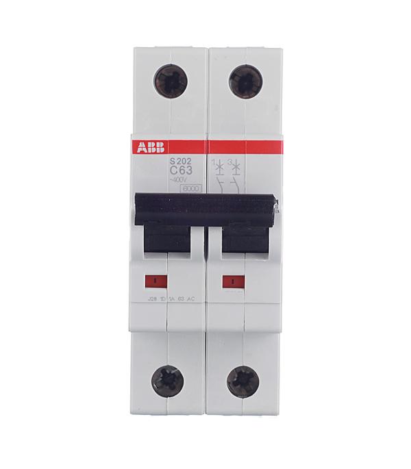 Автомат 2P 63А тип С 6 kA ABB S202 дифференциальный автомат 1p n 16а тип c 30 ма 4 5 ka abb dsh941r