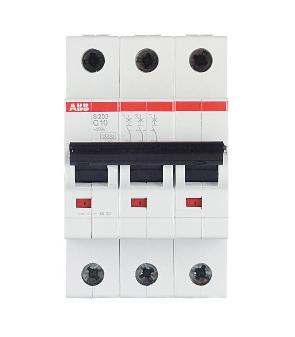 Автомат 3P 10А тип С 6 kA ABB S203