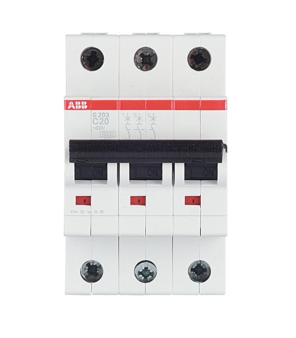 Автомат 3P 20А тип С 6 kA ABB S203  автомат 3p 6а тип с 6ка abb s203