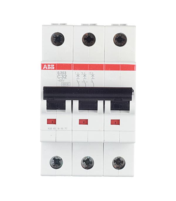 Автомат 3P, 32А, тип С, 6кА, ABB, S203