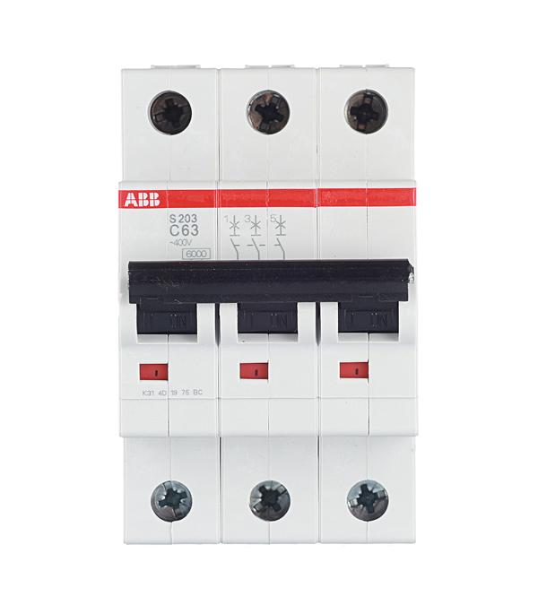 Автомат 3P 63А тип С 6 kA ABB S203  цена и фото