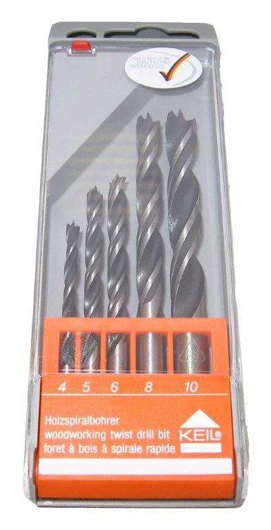 Сверло по дереву набор 5 шт (4, 5, 6, 8, 10 мм) Keil Стандарт