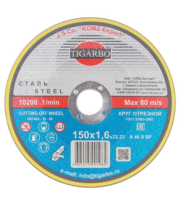 Круг отрезной по  металлу TIGARBO 150x22x1,6 мм круг отрезной по металлу луга стандарт 115х22х1 мм