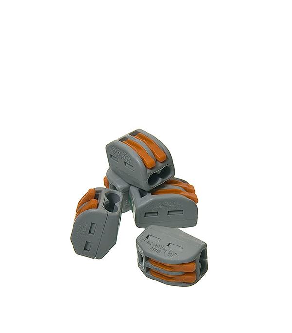 Зажим (клемма) на 2 провода с рычажком (0,08-2,5 мм.кв), ( 5 шт), Wago