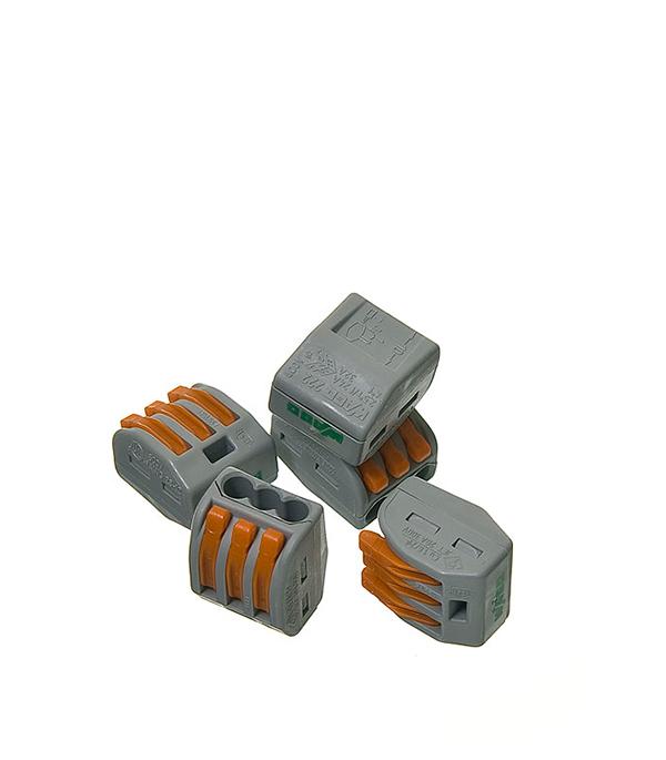 Зажим (клемма) на 3 провода с рычажком (0,08-2,5 мм.кв), ( 5 шт), Wago