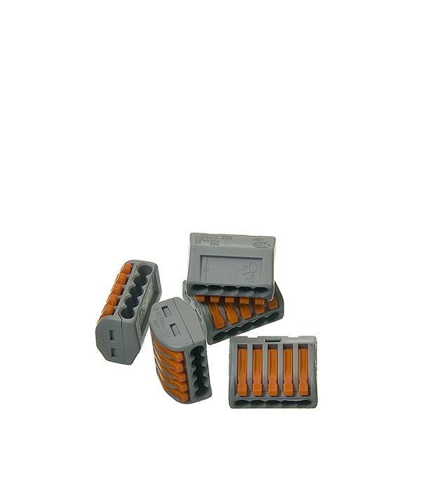 Зажим (клемма) на 5 проводов с рычажком (0,08-2,5 мм.кв), ( 5 шт), Wago