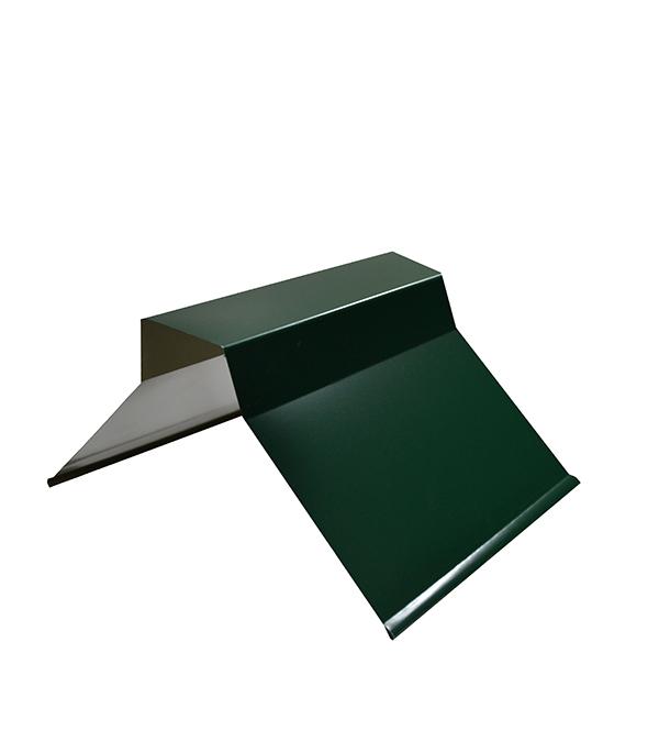 Конек для металлочерепицы плоский с пазом, 135х35х60х35х135 мм, 2 м зеленый RAL 6005