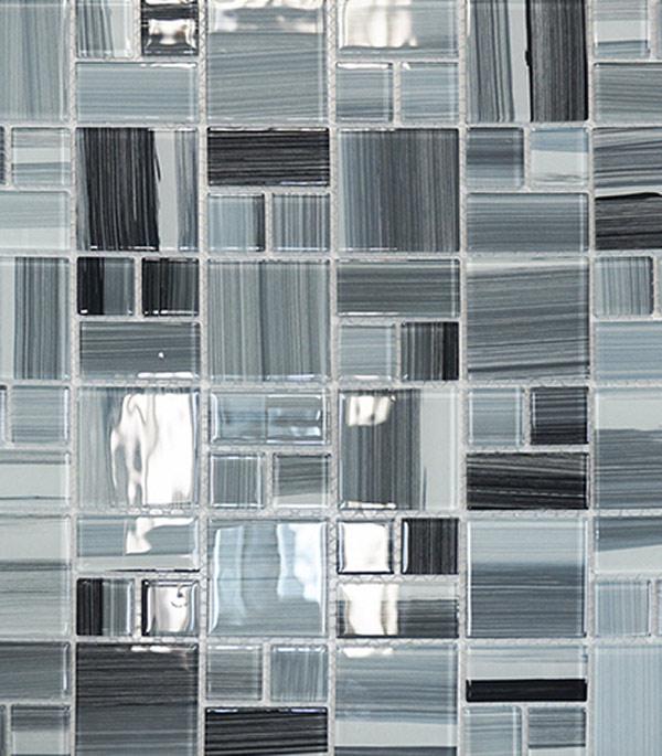 Мозаика стеклянная 327х327х4 мм серый полосатый микс на сетке (10 шт = 1,07 кв.м)