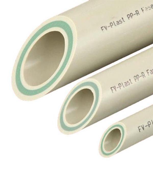 Труба полипропиленовая, армированная стекловолокном 25х2000 мм, PN 20 FV-PLAST серая  труба полипропиленовая 25х2000 мм pn 20 серая