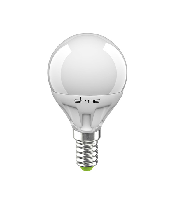 ььЛампа светодиодная E14,  5(6,5)W, G45 (шар), 3000K (теплый свет), Shine
