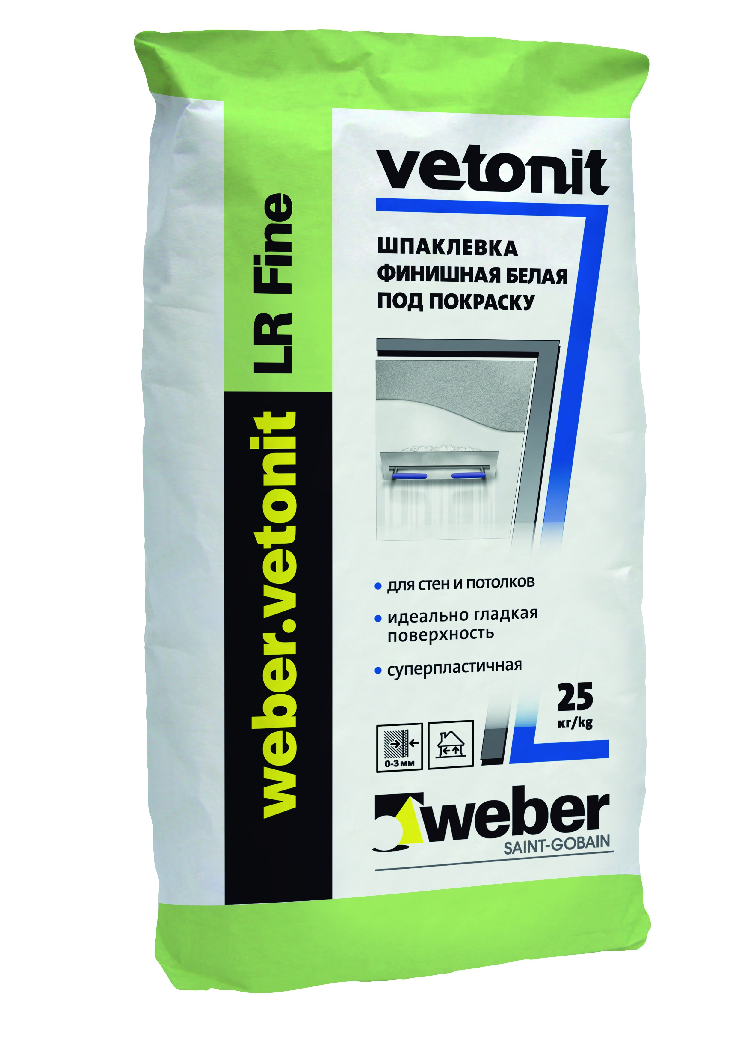 Ветонит ЛР Файн (Вебер.Ветонит) (белая шпаклевка для сухих помещений), 25кг