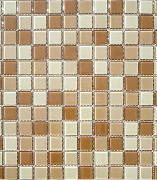 Мозаика стеклянная 327х327х4 мм бежево-коричневый микс на сетке (10 шт = 1,07 кв.м)