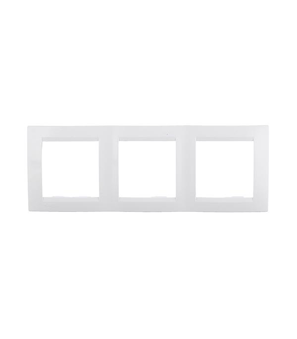 Рамка трехместная Simon 15 белая спальный мешок woodland berloga 400 l левосторонняя молния цвет хаки 190 35 х 90 см