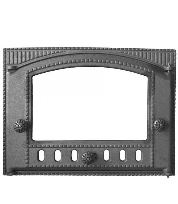 Дверца топочная каминная ДТК-2С 375х300 мм со стеклом Robax