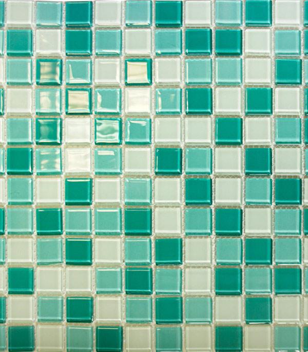 Мозаика стеклянная 327х327х4 мм бирюзовый микс на сетке (10 шт = 1,07 кв.м)