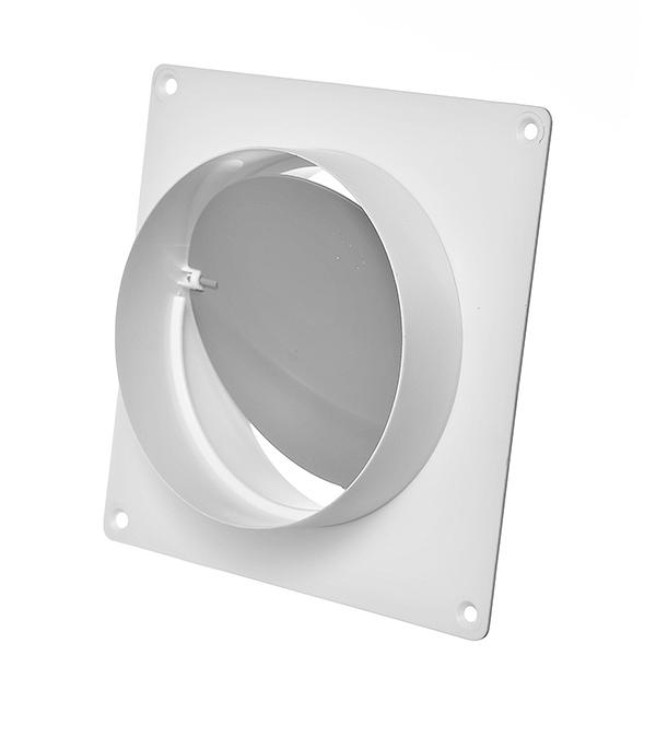 Соединитель для круглых воздуховодов с обратным клапаном и настенной накладкой пластиковый d100 мм