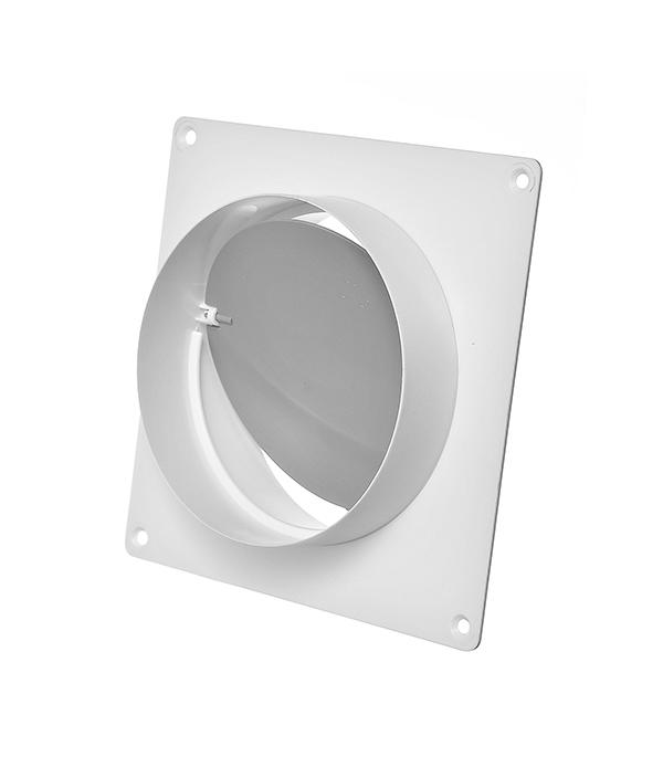 Соединитель для круглых воздуховодов с обратным клапаном и настенной накладкой пластиковый d125 мм