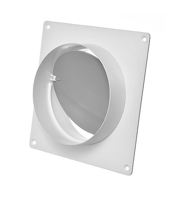 Соединитель для круглых воздуховодов с обратным клапаном и настенной накладкой пластиковый d150 мм