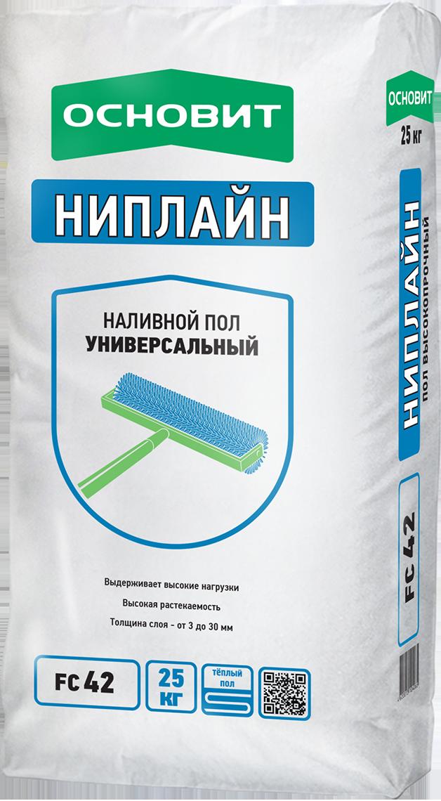 Ровнитель для пола Основит FC42 Ниплайн высокопрочный 25 кг  основит ниплайн fk47 ровнитель для пола универсальный 25 кг