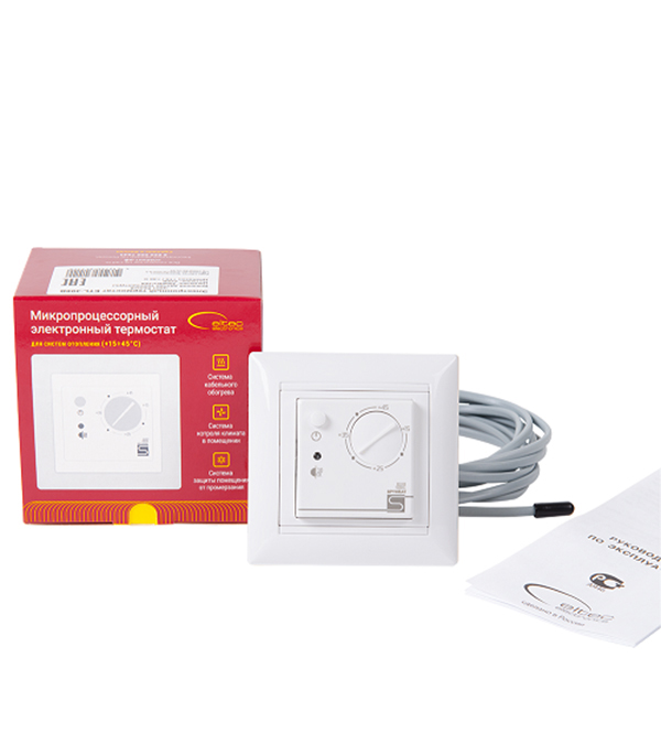 Электронный термостат SPYHEAT ETL-308B белый  терморегулятор электронный spyheat etl 308b белый