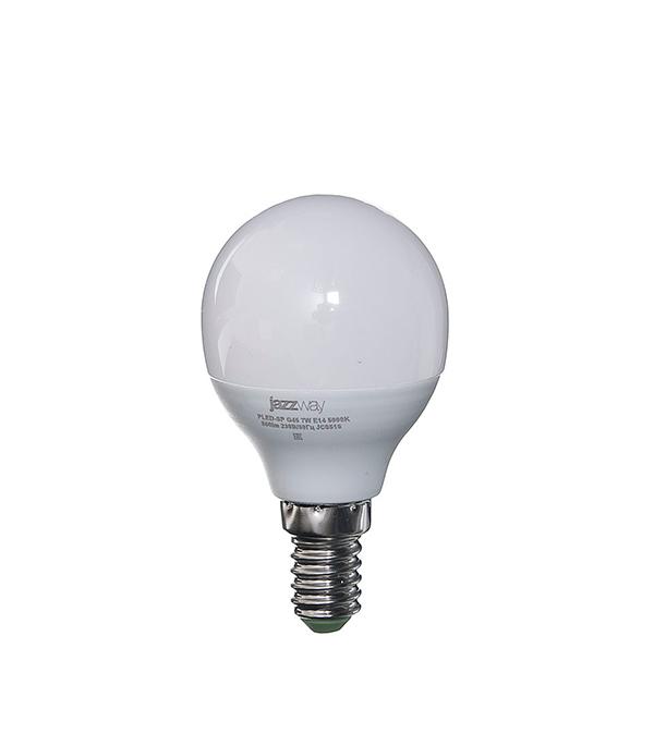 Лампа светодиодная E14,  7W, G45 (шар), 5000K (холодный свет), Jazzway