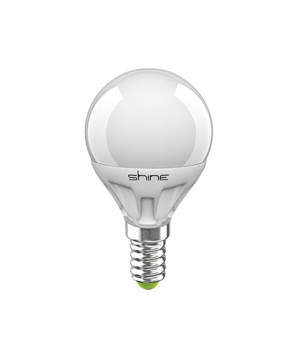Лампа светодиодная E14,  5(6,5)W, G45 (шар), 4000K (холодный свет), Shine