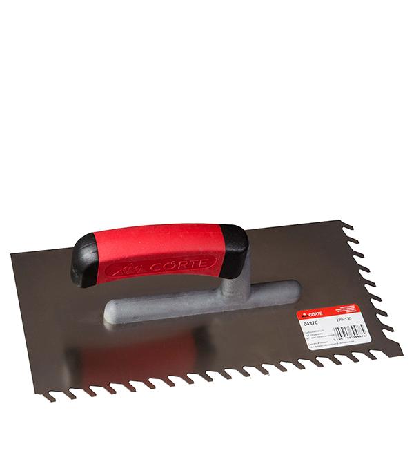 Гладилка зубчатая 270 х 130 мм зуб 4 х 9 мм с эргономичной ручкой Corte