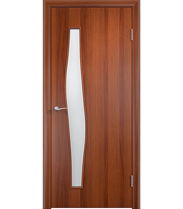 Дверное полотно ламинированное Верда С-10 Итальянский орех 800х2000 мм, остекленное Сатинато