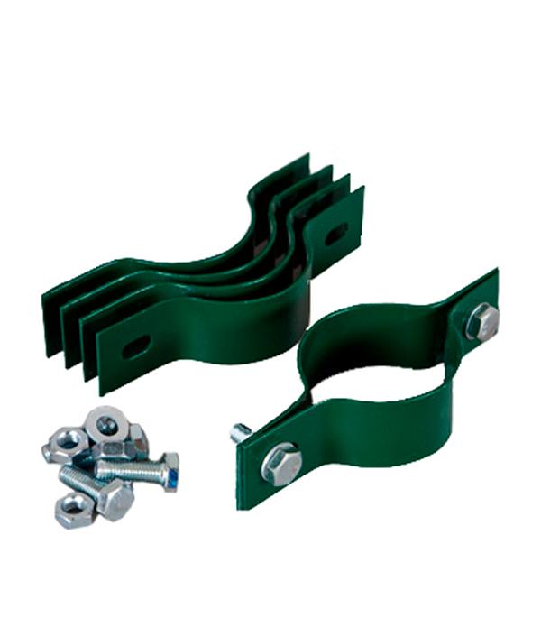 Крепление сетки/секции заборной  к столбам d-51 мм (3 шт) зеленый