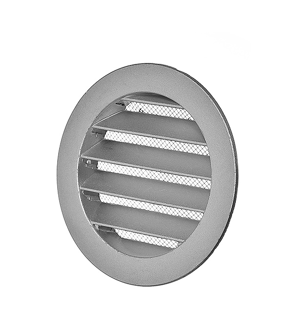 Решетка вентиляционная наружная круглая алюминиевая d125 мм c фланцем d100 мм