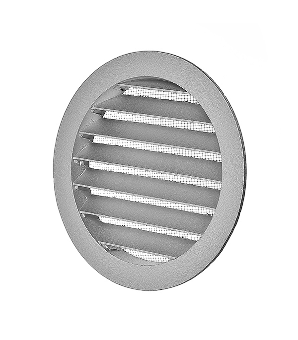 Решетка вентиляционная наружная круглая алюминиевая d150 мм c фланцем d125 мм