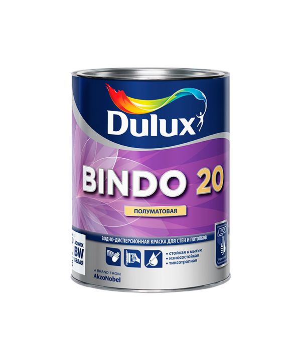 Краска в/д Dulux Bindo 20 основа BW полуматовая 1 л краска фасадная dulux bindo facade bw в д 10л белая