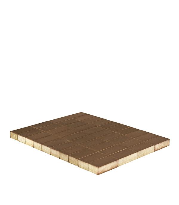 Плитка тротуарная Брусчатка (кирпичик) 100х200х40 мм коричневая щебень известняковый в калуге