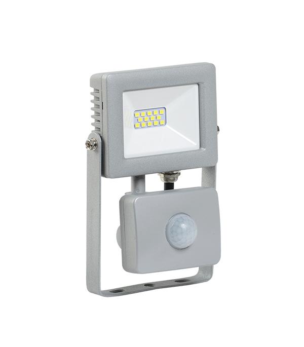 Прожектор cветодиодный  10 Вт, с датчиком движения, 6500K (холодный свет), серый