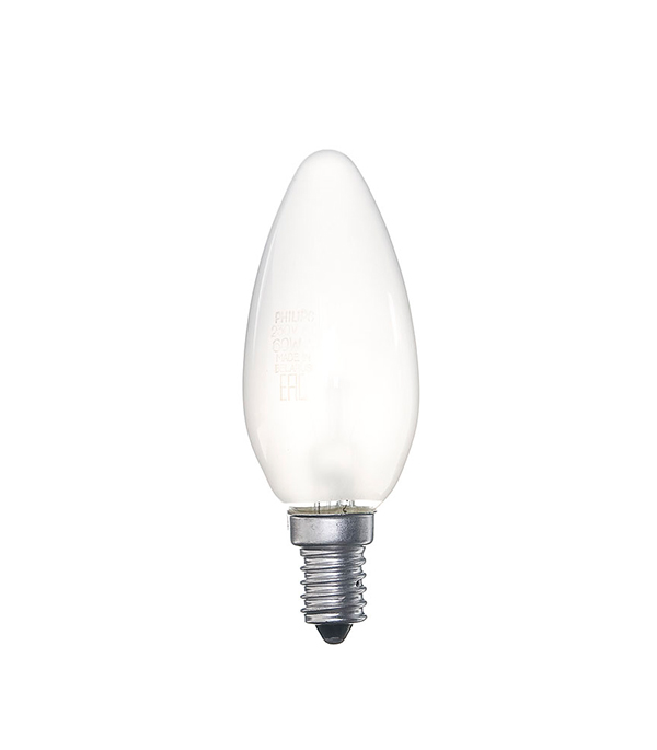 Лампа накаливания E14, 60W, В35 (свеча), FR (матовая) Philips